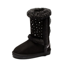 New winter drilling hot black bow super gorgeous fluffy GILR snow boots with butterfly  for  little  big kids