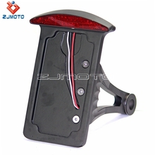 Black Taillight Side Mount Vertical License Plate Holder Bracket Tail Light For Harley Custom Motorcycle(China)