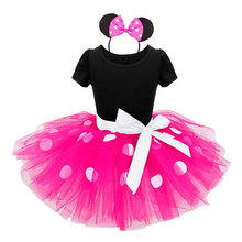 Minnie Mouse kids Ballet dress princess party costume infant clothing Polka dot baby clothes birthday girls tutu dress Head band(China)