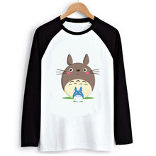 Cute Totoro T shirt Men Sublimation Black White Raglan Long Sleeve Graphic Print Tshirt Man Fall Anime T-shirts(China)