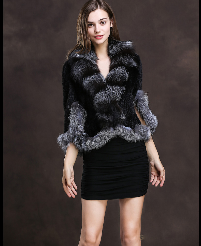 Winter Shawl Wrap Poncho Real Knit Mink Fur shawl With Fox Trimming Real fur Jacket coats party 2017 new (16)