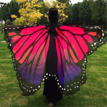 ZAFUL Wholesale 14 Colors Women Scarf Pashmina Butterfly Wing Cape Peacock Shawl Wrap Gifts Cute Novelty Print Scarves Pashminas(China)