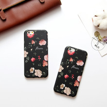 For Iphone7 7plus Fashion Lady Retro Black Flower Literature Design Silica Gel Scrub Protective Sleeve For Iphone6 6s 6plus 6sP(China)