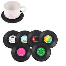 Creative 6Pcs/set Retro Vinyl Drink Coasters Table Cup Mat Home Decor CD Record Coffee Mug Holder Placemat for Tableware(China)