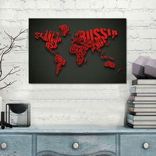48x32 inch Letters monogram design World Map Modern Home Decoration print Painting on Canvas art For Living Room Canvs painting