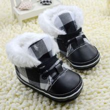 2017 Black Plaid Baby Snow Boots Soft Sole Toddler Shoes Boys Girls First Walkers For Autumn Winter Flush Worm Shoes
