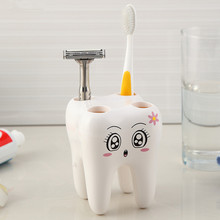 Cartoon Toothbrush Holder,Teeth Style 4 Hole Stand Tooth Brush Shelf Bathroom Accessories Sets,Bracket Container For Bathroom(China)