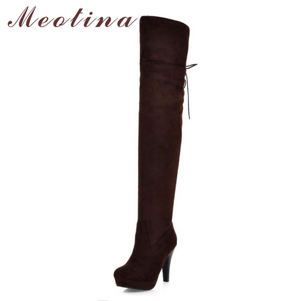 Meotina Winter Thigh High Boots Lace Up Over The Knee Boots Shoes Women Long Boots Autumn Ladies Platform High Heels Big Size 43<br>