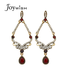 Joywish Fashion Jewelry Ethnic Antique Gold Color with Rhinestone Red Beads Water Drop Chandelier Earrings For Women Accessories