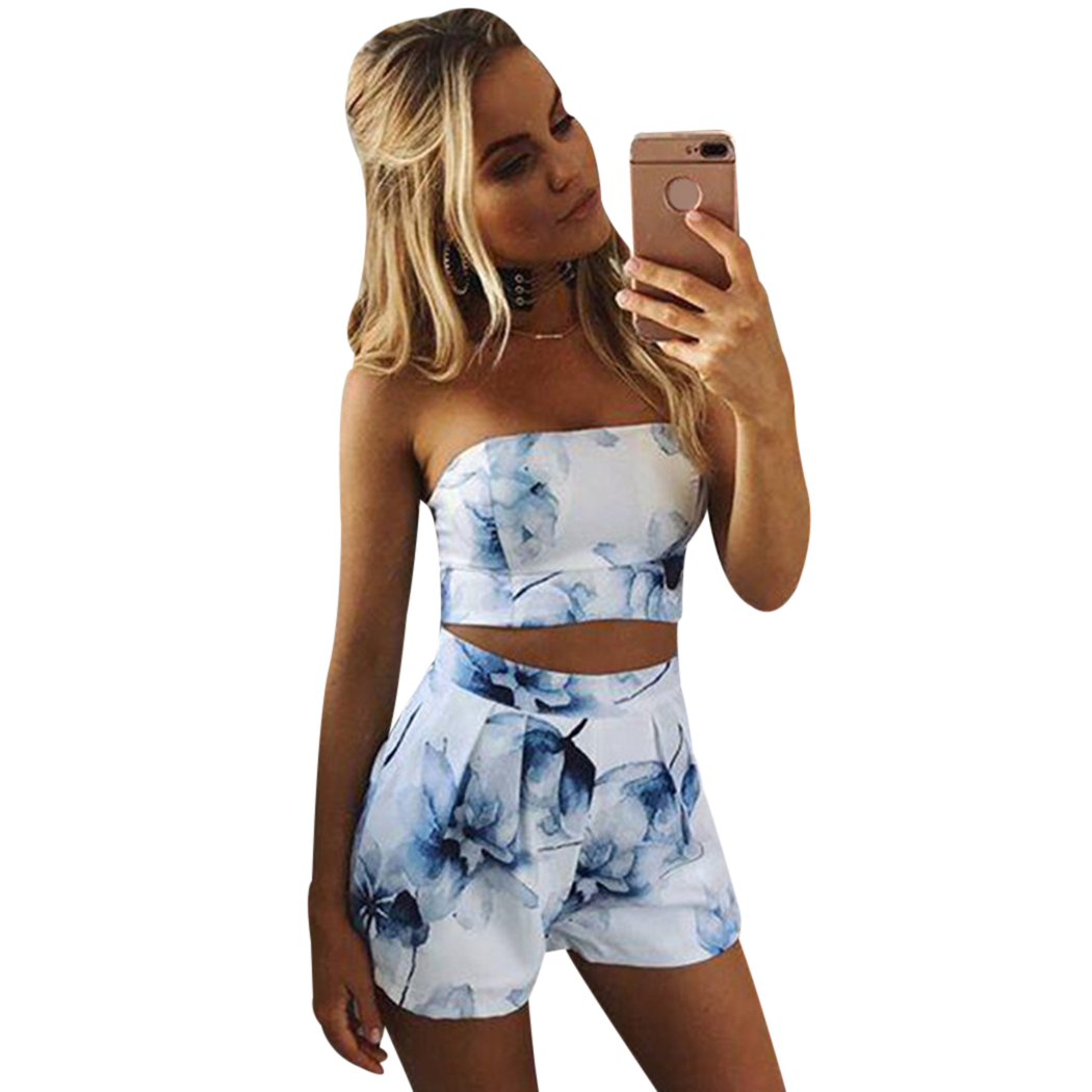 2018 New Floral Printed Tops Cropped Two Pieces Set Women Sleeveless Backless Crop Top Sexy Shorts Female Suit Women Clothing Q4
