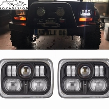 SOYAVISION  7inch high low sealed beam conversion led headlamp for Jeep Cherokee XJ Off Road 5 X 7 Inch square LED Headlights