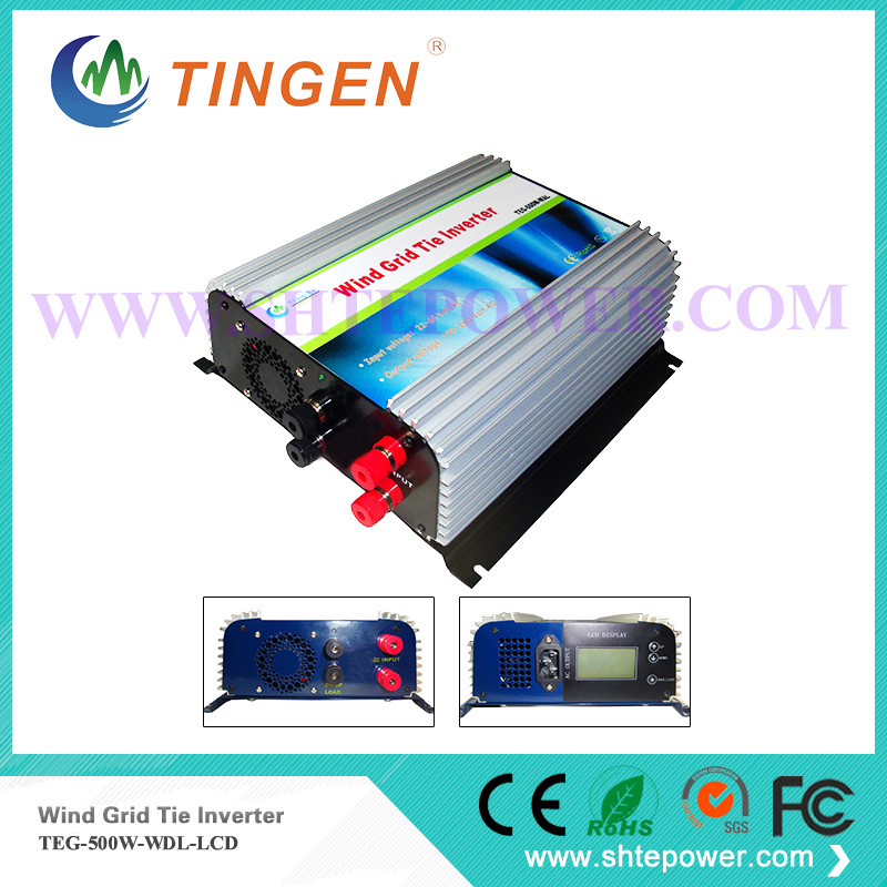 Grid tie inverter for the wind turbine generator micro 500w input dc 10.8-30v to ac with lcd display(China)