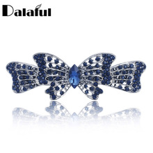 Bowknot Butterfly Crystal Gracious Hair clip Barrette Hairpin Accessories Hair Jewelry For Woman Girls Wedding F130(China)