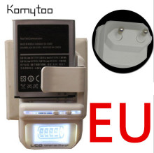 Hot Sale EU Plug LCD Indicator Screen Universal Travel LCD Battery Charger & USB Wall Mobile Phone Charger(China)