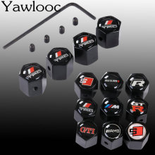 Yawlooc 4 Pcs/Lot Car Sport Logo Wheel Tire Valve Stem Air Caps Styling Stainless Steel For TRD GTI GTR RS SLINE NISMO M AMG