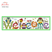 Golden Panno,The Owl Welcome Card Patterns Counted Cross Stitch 11CT 14CT Cross Stitch Sets Chinese Cross-stitch Embroidery 1122(China)