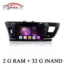 "Free shipping 9"" capacitive Android 6.0 car radio for Toyota corolla 2014 Taiwan car dvd player with steering-wheel,GPS"