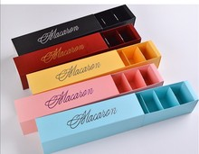 100pcs/lot Macaron packaging wedding candy favors gift Laser Paper boxes 6 grids Chocolates Box/cookie box