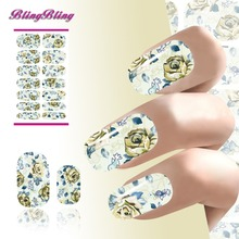 2PCS Flower Nail Art Water Transfer Nails Sticker Decals Low-key Rose Pattern Design Fingernails Foil Patch Harajuku Manicure