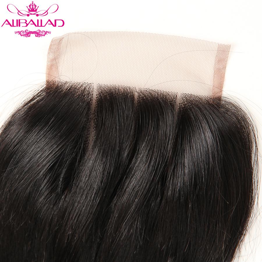 Aliballad Brazilian Body Wave Lace Closure Three Part 4X4 Natural Color Non-Remy Hair Closure 100% Human Hair 3