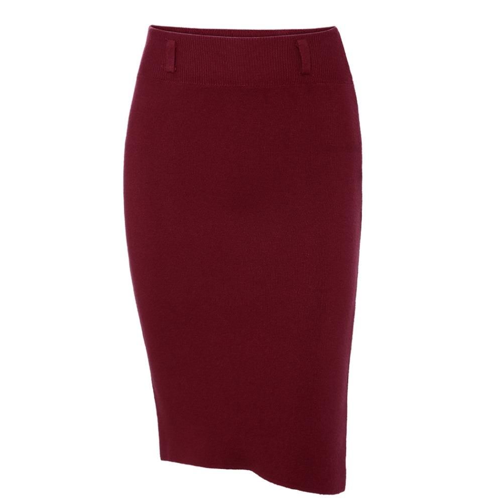 2018 Fashion Skirts Autumn winter Casual Women High Waist Knee-length Knitted Pencil Skirt Elegant slim Long Skirts Black Skirt 12