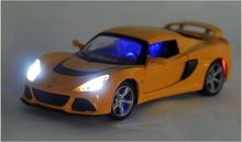 1:24 Scale Alloy Metal Diecast Car Model For Lotus Exige S Collection Class Model Car Toys With Sound&Light - Yellow / White(China)