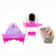 Free Shipping 3 Items/Lot Doll Furniture Doll Bed+Dressing Table+Flower Cloth Sofa For Barbie Dolls Girl Gift Kid Play House Toy