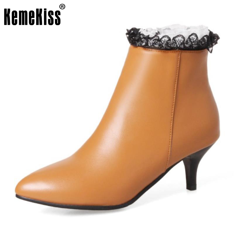 KemeKiss Size 32-45 Office Lady High Heel Ankle Boots Women Pointed Toe Zipper Lace Short Boot Sexy Lady Daily Work Footwears  <br>