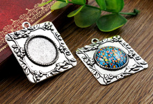 2pcs 20mm Inner Size Antique Silver Classic Style Cabochon Base Setting Charms Pendant (D2-17)(China)