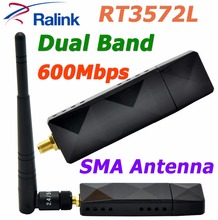 RALINK RT3572 Dual Band 600Mbps Wireless WiFi USB Adapter with SMA 5dBi External WiFi Antenna For SamSung TV / Windows 7/8/10(China)