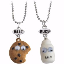2Pcs/Set Cookie And Milk Best Friend Necklace Friendship Miniature Food Pendant Jewelry BFF Gift #240697