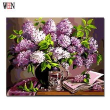 WEEN Purple Flower Paintng By Numbers Modern DIY Digital Wall Art Picture For Home Decor Gift Coloring by numbers Wall Artwork