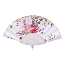 ALIM HOT Floral Oriental Dance Party Wedding Folding Hand Fan Lace - White(China)