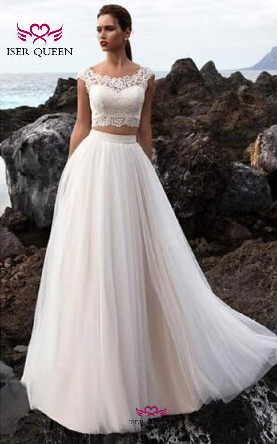 Two Pieces Design Sleeveless Lace Beach Wedding Dress 2019 Button Back Sweep Train Tulle Bobo Wedding Dresses Bridal Gowns W0458