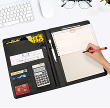 a4 Faux leather portfolio business executive padfolio folder biefcase document bag clip calculator pen loop office supplies 556B(China)