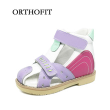 2017 Orthofit store hot selling girls children closed toe solid genuine leather orthopedic footwear summer shoes(China)