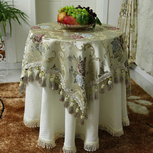 Fashion modern simple Home Amazing Emulation Silk Fabric Jacquard Rural Hand-made circular table cloth(China)