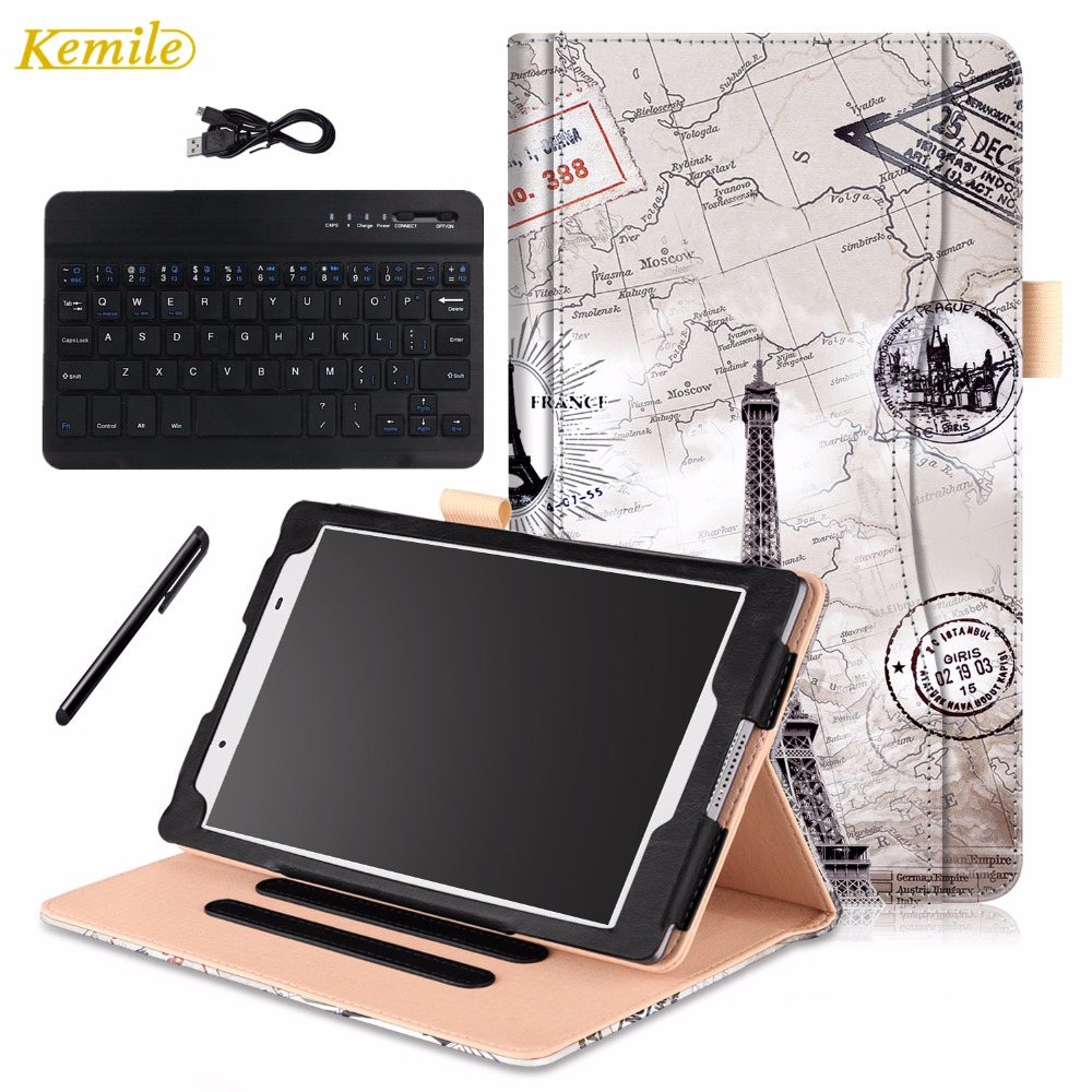 PU Leather Wallet buluetooth keyboard Case Cover  for Lenovo TAB 4 8 TB-8504F TB-8504N Smart Tablet Fundas+Gift<br>