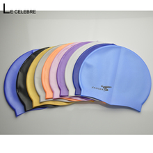 1pc Swimming Cap Swim Silicone Hats Solid Color Water-proof 100% Caps Brand New Adult Men Women Children High Quality(China)