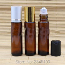 10ML Steel Roll On Bottle, Gold Cap Without Line Silver Cap With Line, Glass Purfume Packing Bottle, 50pcs/lot