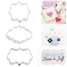Baking Tools 3pcs Stainless Steel Blessing Frame Birthday Wedding Cookie Cutters Kitchen Bakeware Fondant Cake Decorating Tools
