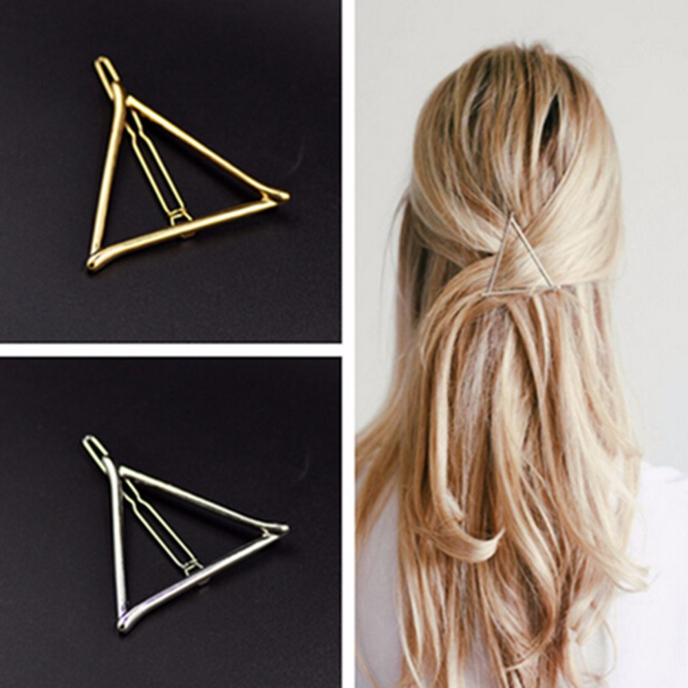 New 1pc Gold Plated Metal Triangle Hair Clip For Women Fashion Jewelry Accessories Women