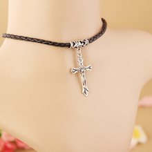 Cross Necklace Men Black PU Leather Chain Male Female Punk Style Cheap Accessories Birthday Gifts For Husband & Wife Jewellery(China)