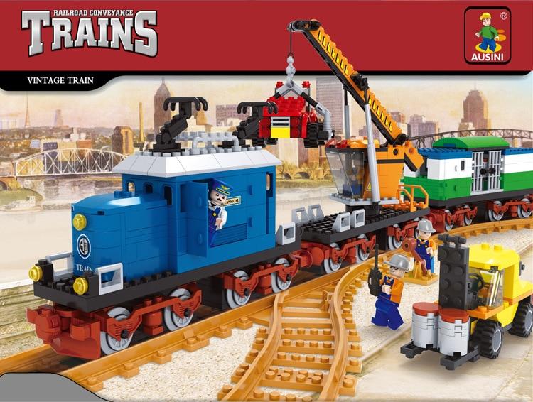 Ausini model building kits compatible with lego city train 509 3D blocks Educational model &amp; building toys hobbies for children<br>