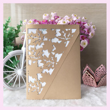 100pcs/lot Wedding Card Designs Wedding Invitation Card 2016 Wedding Card very unique maple leaf design envelope customprinting(China)
