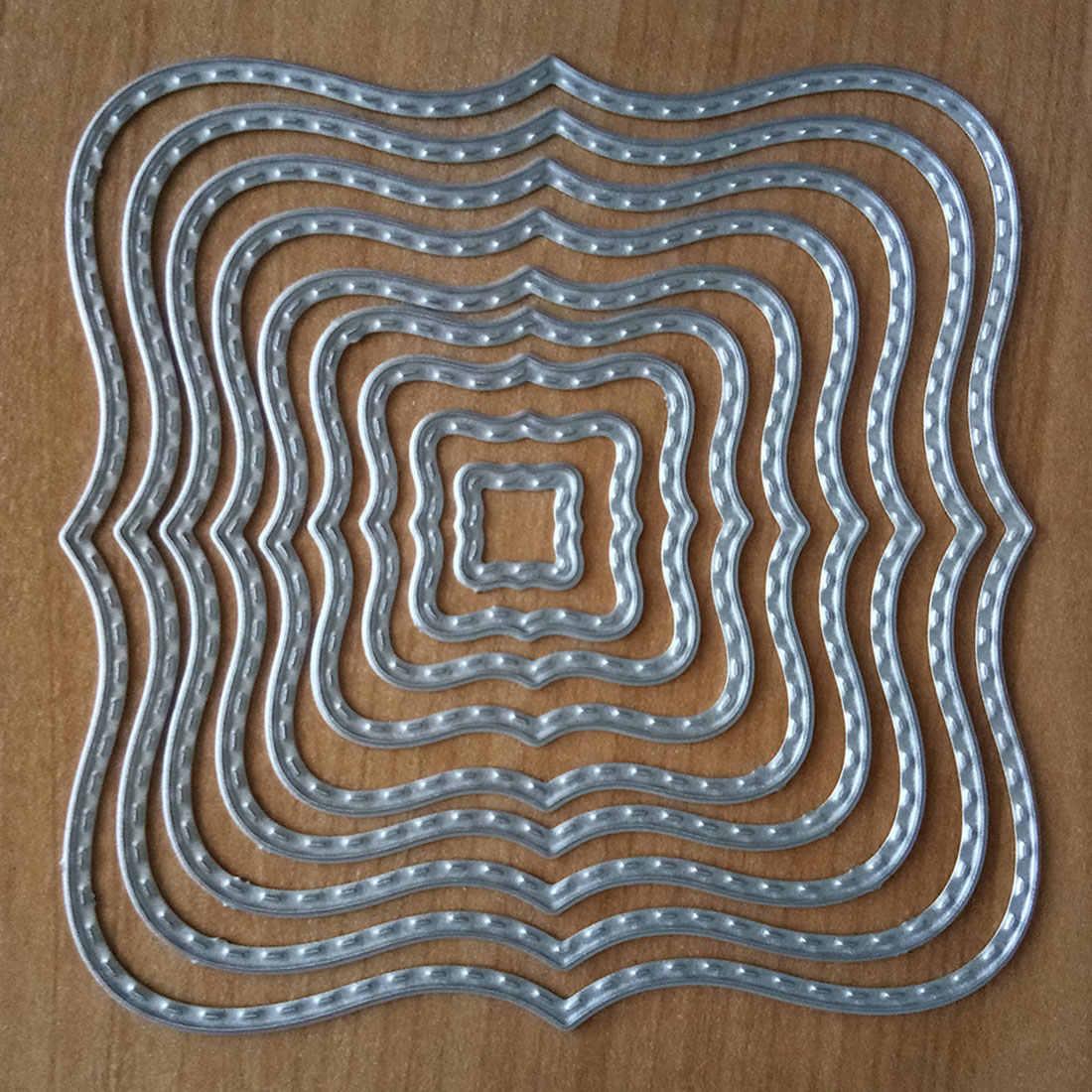 Carbon Steel Cutting Die Stencil DIY Embossed Frame Template Square Wave 9pcs DE
