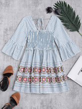 ZAFUL Fashion Women Blue White Stripe Smocked Dress Cotton Flare Sleeve Ruffles Babydoll Top Back Lace Up Prints Casual Dresses(China)