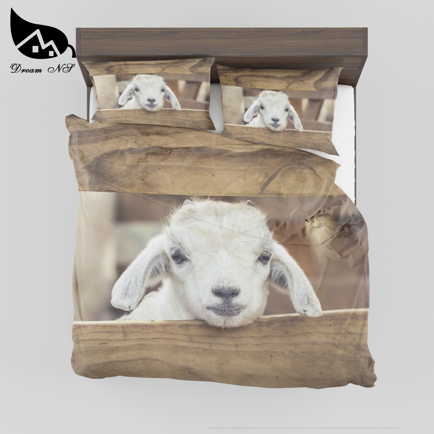 Dream NS Polyester Cotton Super Soft Bedroom bedding Cute Lamb High Definition Print Quilt Case Pillowcase Set MSY10