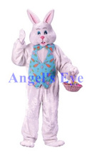 Quality Mascot Pink Easter Bunny Mascot Costume with Basket Adult Size Fun Easter Holiday Rabbit Mascotte Suit Fancy Dress