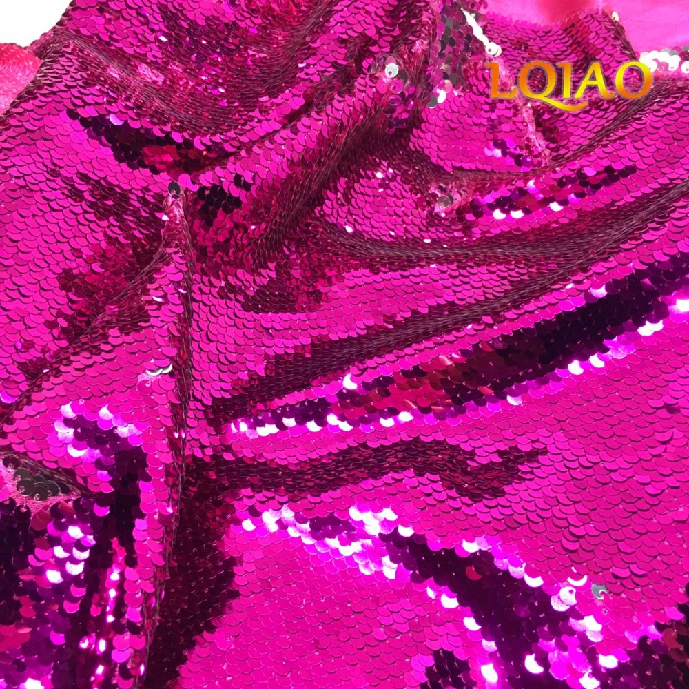 Fuchsia Silver Sequin Fabric-005